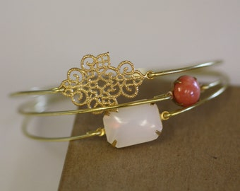 Bohimian Queen Bangle Set- Gold Bangles- Burnt Orange- White Opal Bangle- Bubble ClusterBangle- Circles-Bridesmaids Gifts- Bracelet Sets