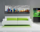 Abstract new york city painting style  art canvas work, Downtown NY .Large size