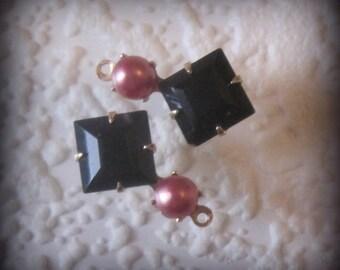 Swarovski Jet Black Multi Stone Square 19MM Pink Pearl 1 Ring Brass Prong Drop