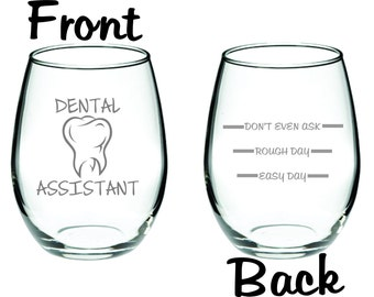 Etched Dental Assistant Glass FREE Personalization