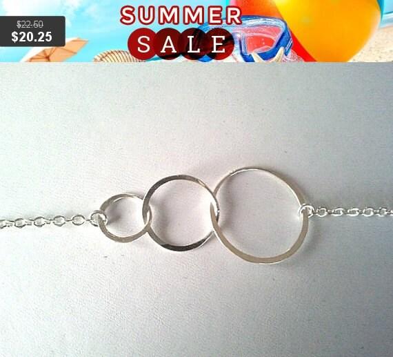 Eternity love Triple Circle Bracelet -Bangle,Friendship, infinity love charm, wedding bracelet,christmas gift