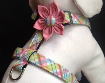 Dog Harness Flower Set - Pink And Green Plaid  - size XS, S, M