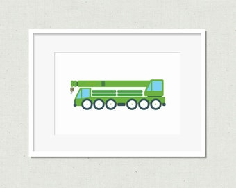 Nursery print, modern nursery art, kids room art, nursery art, crane print, nursery decor, green crane, truck, green truck, colorful kids