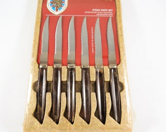 Vintage Steak Knife Set, New In Box Sheffield Stainless Steel English Cutlery 1970s Set Of 6 Regent Sheffield Steak Knives, Made in England