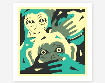 NO EVIL, Giclée Fine Art Print, Monkey Pop Art by Jazzberry blue