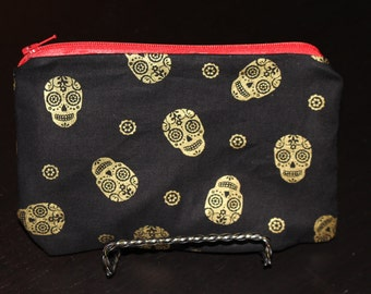 Small Black and Gold Sugar Skulls with Red Lining - Zipper Pouch, Halloween, Makeup Bag, Clutch, Catch-All