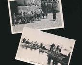 vintage paper, vintage postcards, 2 llama postcards, balsa boats, Lake Titicaca Peru, 1950s