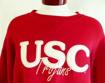 Go Trojans vintage 90's USC University of Southern California crimson red fleece white felt applique embroidered logo graphic sweatshirt xxl