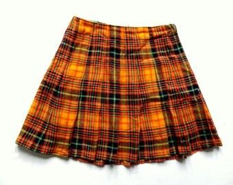 Vintage 70's Check Print Pleated Midi Skirt UK 12
