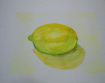 Original water color painting, 6x8, lemon painting, kitchen, original still life painting