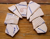 Patterned Matching Sea Pottery,Medium/Large Pieces, Blue/Gray/White, Mosaic Pieces