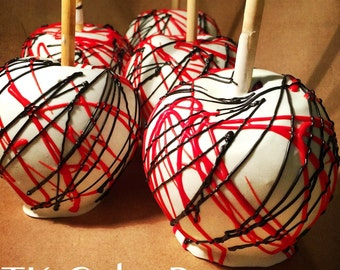 Red Black and White Candy Apples