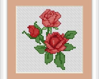 Red Roses Cross Stitch Kit - Luca S - Beginner 8cm x 9cm