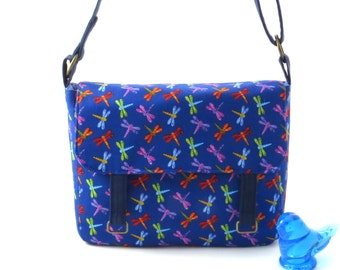 Blue messenger bag, blue crossbody bag, dragonfly bag, summer bag, adjustable strap, handmade bag, blue dragonfly, small messenger bag