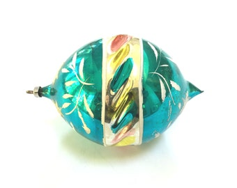 HUGE VINTAGE AQUA Turquoise Glass Christmas Ornament - Like an Easter Egg - Hand Painted Pretty Stars Floral