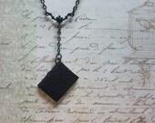 Tiny Book Necklace, Miniature Black Leather Book Necklace, Blank Book Necklace, Book Charm Necklace, Book Lovers Jewelry, Mini Book Necklace