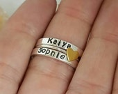 Set of 3 Stacking Rings, Sterling Silver Name Ring, Stackable Name Rings, Personalized Name Ring, Mothers ring, Name ring, Custom mommy Ring