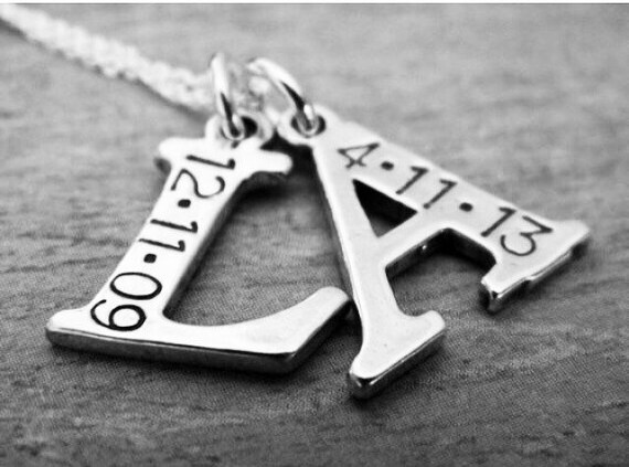 2 Letter, Initial and Date Necklace, Sterling Silver, Personalized, Hand Stamped, Custom Made, Letter Initial Charms, Mommy Necklace