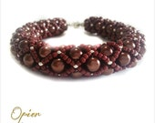 Hand Woven 6mm Brown Czech Glass Pearl Bracelet with matching Toho seed beads, silver accent beads, silver magnet clasp