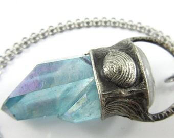 blue venus - aqua aura crystal pendant with rainbow moonstone