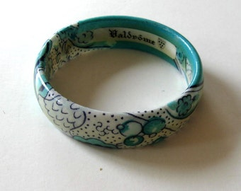 Vintage French Valdrome coated Fabric Bracelet, Turquoise and white bangle, Pierre Deux, Les Olivades, Vintage Woman's Accessory, gift idea