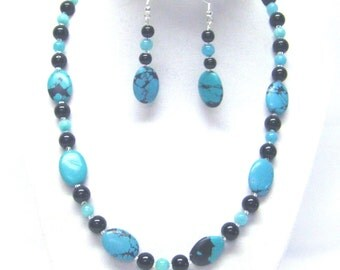 Oval Turquoise Howlite Bead Necklace & Earrings