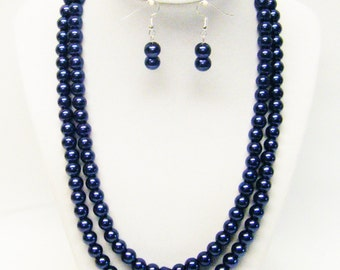 Two Strand Royal Blue Glass Pearl Necklace & Earrings Set