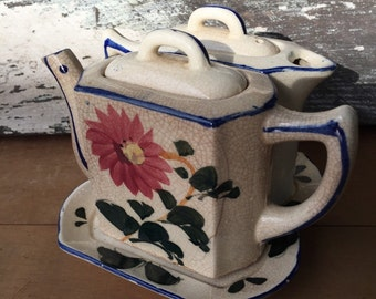 Antique Ceramic Teapot and Creamer from Japan