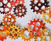 100 Pieces Die Cut Steampunk Cogwheels Rust Red Yellow, Assorted Scrapbooking Supply - CUSTOM ORDER