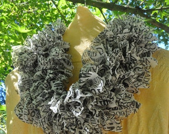 SALE! Beautiful Stylish Hand Knit Cowl, Single Wrap Scarf, Infinity Scarf, Fabric Knit Scarf, Ruffled Cowl, Ruffle Fashion Cowl