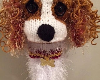Hand knit King Charles Cavalier Spaniel dog golf club cover golf sock Made to Order