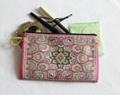 Pink Mini Wallet, Ethnic Purse, Fabric Coin Purse, Travel Purse, Change Wallet, Boho Coin Purse, Credit Card Purse, Coin Bag