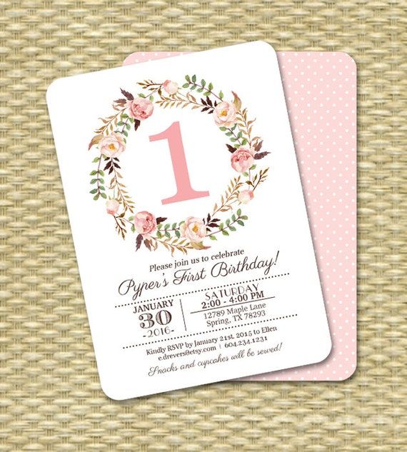 1st birthday invitation girl baby girl pink watercolor floral il570xn filmwisefo