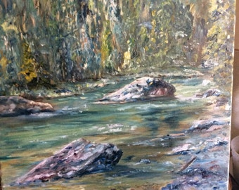 Cool Peaceful River oil painting 16 x 20