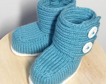 Blue/Teal baby booties