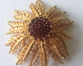 Vintage Signed Sarah Coventry Flower Brooch/ 1960s