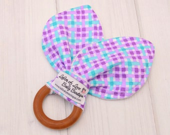 Montessori Baby Toys - Wood Teether Baby - Wooden Toys for Kids - Newborn Teething Toy - Purple Plaid - 1410