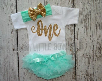 Girl First Birthday outfit- Mint green and gold 1st birthday outfit- Birthday Outfit- Mint green  Birthday Outfit-cake smash