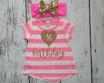 Half Birthday Baby shirt- 1/2 Birthday Gold Shirt- 6 months Birthday Outfit- 1/2 Birthday Outfit-