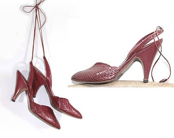 80s KELIAN  woven leather HEELS us6 fr37 burgundy