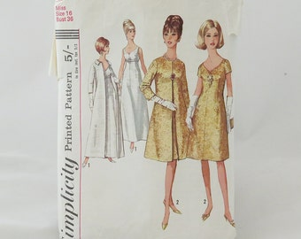 Vintage 1965 Simplicity Pattern - cocktail dress and coat in two lengths Miss size 16 (bust 36)