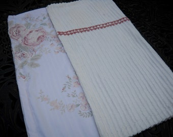 Baby Blanket, Vintage Chenille and Linens, Pretty