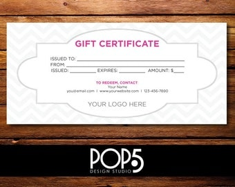 "Personalized Digital File - Customized Chevron Gift Certificate 8.27"" x 3.74"""