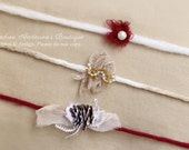 Newborn to Adult Size Christmas Tieback Halo Headband Set Rustic Delicate and Dainty Tie backs Ready to Ship Photography Props. UK SELLER
