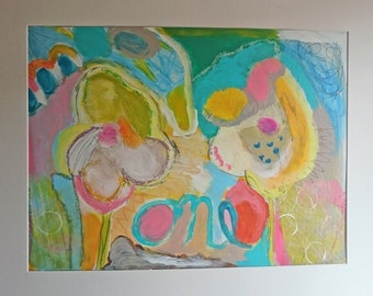 Couple Flowers, Acrylpainting on cardboard, abstract,oilpastel, spring, one, primitiv art, folk