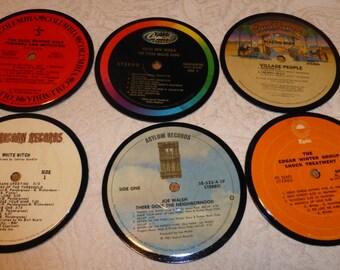 Vinyl Record Album LP Coasters set of 6 mixed artists #A2