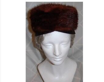 Mink Chocolate Vintage Darcel Exclusive 1960s Fur Pillbox Hat
