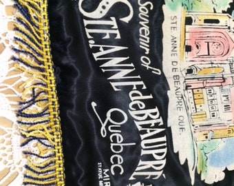 Vintage souvenier pillow cover from Ste. Anne de Beaupre Shrine in Quebec, Coloured Flocking on Black Satin with Fringe