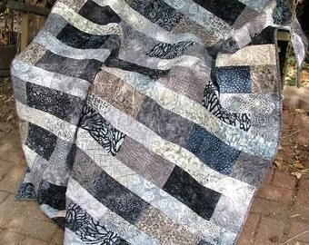 Quilt - Lap Quilt, Sofa Quilt, Quilted Throw, Batik Quilt, - Sophistication in Gray