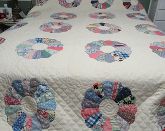 Vintage 1940's Dresden Plate Hand Sewn and Hand Quilted - Never Used - Vintage Queen Quilt - Quilt Rescue